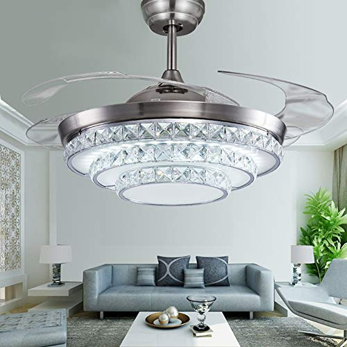 "Fandian 42"" Crystal Ceiling Fans with Lights 4 Retractable..."