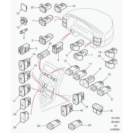 Land Rover - interrupteur leve vitre electrique 2 positions avant gauche ou droit Defender 90, 110, 130, Discovery 2 et Freelander 1 - YUF101521LNF