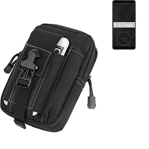 K-S-Trade Gürtel Tasche Für HTC Exodus 1 Gürteltasche Holster Schutzhülle Handy Hülle Smartphone Outdoor Handyhülle Schwarz Zusatzfächer
