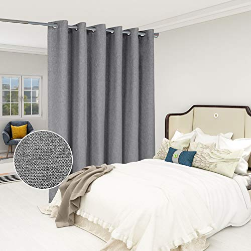 LORDTEX Burlap Linen Look Textured Room Divider Curtains - Privacy Heavy Thick Wide Grommet Window Curtains for Bedroom Living Room Patio Sliding Door, 8.3ft Wide x 7ft Tall, Grey, 1 Panel