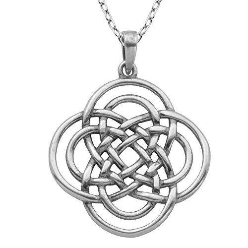 Oxidized 925 Sterling Silver Celtic Knot Pendant Necklace, 18'