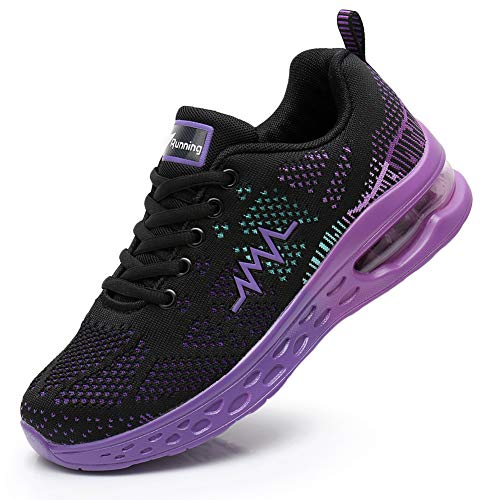 JARLIF Women's LT 2 Road Running Sneakers Fashion Sport Air Fitness Workout Gym Jogging Walking Shoes PurpleBlack 6.5 B(M) US