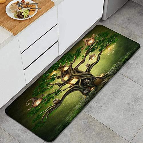 VAMIX Tappeto da Cucina,Fantasia Foresta Verde Casa sull'albero Halloween Gufo Foglia Pianta Cielo notturno astratto,antiscivolo passatoia da cucina antiscivolo zerbino tappetino per il bagno