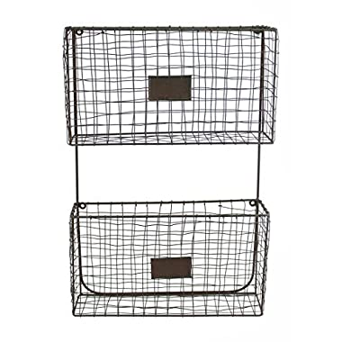 Wire Wall Pockets in Green/Rust Finish