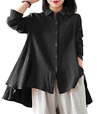 YESNO Women Curved Dressy Back & Sides Hi-Low Hemline Flouncing Cuff Casual Loose Long Sleeve Button-Down Cotton Shirts EJE