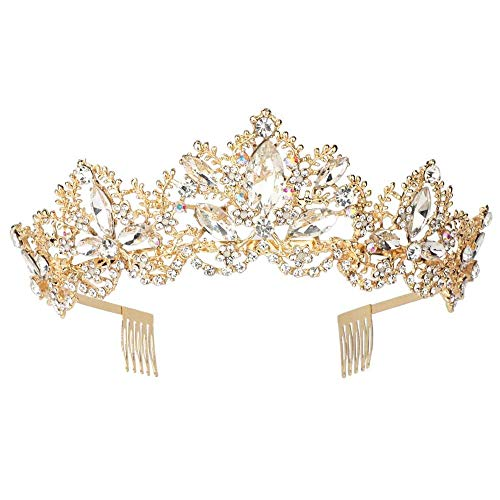 Sppry Women Tiara with Comb - Baroque AB Crystal Crown for Bridal Queen Princess Girls at Wedding Birthday Pageant Party (Gold)