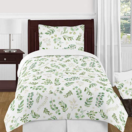 Sweet Jojo Designs Floral Leaf Girl Twin Bedding Comforter Set Kids Childrens Size - 4 Pieces - Green and White Boho Watercolor Botanical Woodland Tropical Garden