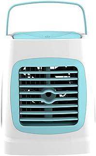 Mini Enfriador de Aire Enfriador de Aire Personal Mini Aire Acondicionado portátil Silencioso Climatizador Evaporativo Ventilador Purificador Humidificador 3 Velocidades,7 Colores Luz Ajustable