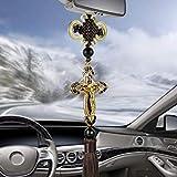 FJKWLC Car Rear View Mirror Pendant Car Pendant Metal Diamond Cross Car Rearview Mirror Ornaments Hanging Auto Car Styling Accessories
