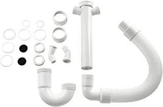 """Xavax Siphon (pour évier, lave-linge et lave-vaisselle, 1,5"""", 2 ports pour siphon 1"""" (2,54 cm) et 2 pièges à odeurs, flexi..."""