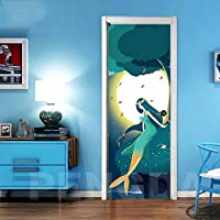 ZWYCEX ドアステッカー 自己接着壁紙の改修マーメイドDIY PVCステッカーのドアの防水入り口ホームデコレーションステッカーを印刷するアートピクチャー (Sticker Size : 95x215cm)
