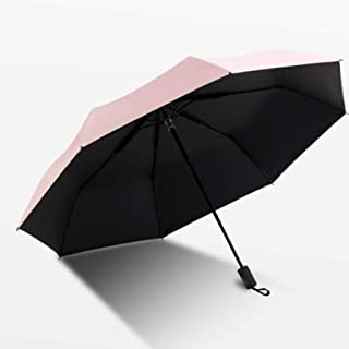 XingKunshop Umbrella Sunny Day and rain Day Dual-use Simple Sunscreen UV-Black Gum Folding Umbrella Summer,Strong Windproof,Outdoor (Color : Pink)