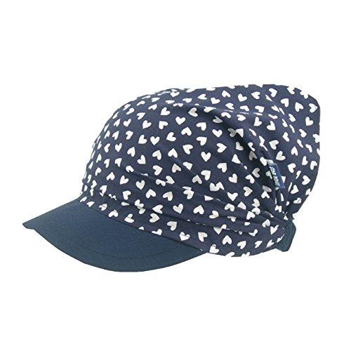 For you For you Kopftuch Dreiecktuch Mütze Schirmmütze Stirnband für Mädchen Kinder Baumwolle mit Muster-Punktchen Schirmmütze (50/52 cm L, Dunkelblaufastschwarz/Weißen Herzchen)