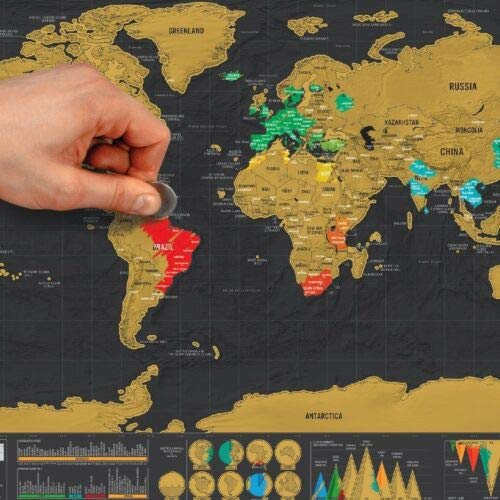 Solerot Deluxe Travel Edition Scratch off World Map Poster Personalized Journal Log