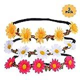 Blumenkranz Haare, 3 Daisy Blumen Stirnband Haarband Hochzeit Haarkranz Krone, Haarband Blumen mit Justierbaren Elastischen Band Damen Mädchen für Party Strand Haarreif Blumen Kopfschmuck