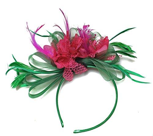 Verde y Fucsia Rosa Tocado Diadema Cabello de plumas de aro neta boda Royal Ascot de carreras