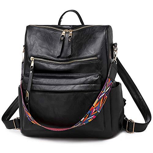 Damen Rucksack,COOFIT Rucksack Schwarz Leder Rucksack 3 Möglichkeiten Schulranzen Rucksack für Mädchen Kleiner Schultasche Casual Daypack Schulrucksäcke Tasche Schulranzen (Schwarz)