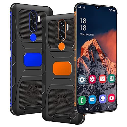 "2021 Smartphone 5G Pantalla HD + de 7.0 "", 6800mAh Batería 4GB RAM + 64 ROM 32MP + 50MP Cámara Dual SIM Android 11.0 Teléfonos Bluetooth 5.0,Orange,L"