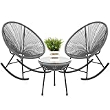 Best Choice Products 3-Piece Outdoor Acapulco All-Weather Woven Rope Patio Conversation Bistro Set w/Glass Top Table and 2 Rocking Chairs - Gray
