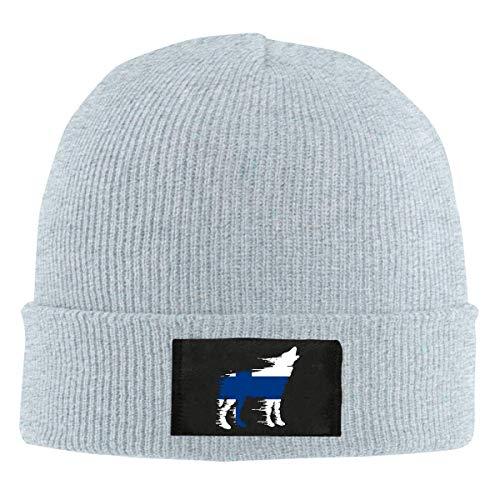 XCNGG Gorro Jersey de Lana Unisex Women's Finland Flag Wolf Knitted Cap,Soft Warm Skull Cap