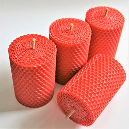 4 rote handgerollte Wabenkerzen aus 100% BIENENWACHS Kerzen Osterkerze Tafelkerze Adventskerze Christbaumkerze 8,5 cm hoch und 6 cm breit rot