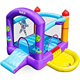 Naice Bounce House, Inflatable Bouncer with Blower, Jumping Castle with Slide, Home Backyard Bouncy Castle, Ball Pool, Extra Thick Material, for 2-3 Kids