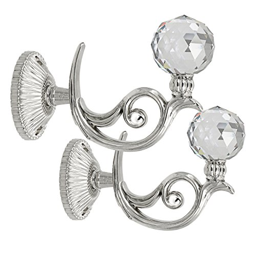 BTSKY® Pair of Phoenix Glass Crystal Curtain Holdbacks Hooks Drapery Tiebacks Tassel holder (Silver)