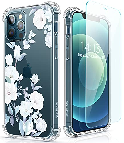 GVIEWIN for iPhone 12 Pro Max Case with Screen Protector, Floral Clear Women Phone Case Flower Shockproof Full Body Protective TPU Bumper Cover 6.7 Inch (Hibiscus)