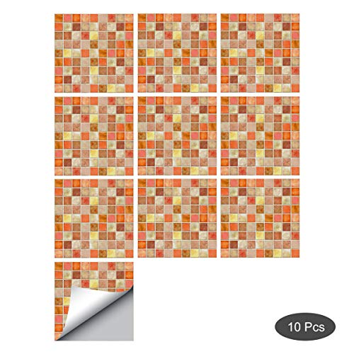 decalmile 10 Stück Fliesenaufkleber 15x15cm Orange Mosaik Porzellan Wandfliese Fliesensticker Küche Badezimmer Deko