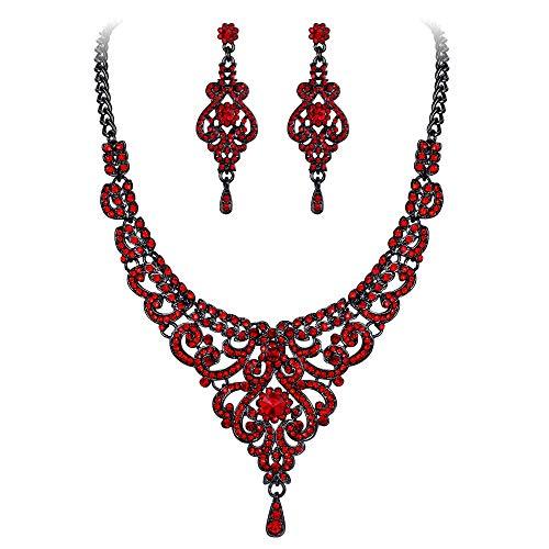 EVER FAITH Austrian Crystal 1920s Elegant Bridal Vase Flower Necklace Earrings Set Red Black-Tone