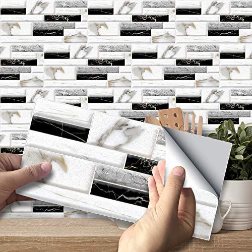 Exnemel Wandfliesenaufkleber, Fliesenaufkleber, Selbstklebende wasserdichte Boden wandfliesentransfers DIY 3D-Fliesen-Abziehbilder Vinyl für Küche Wohnzimmer Badezimmer Wohnkultur (A,27)