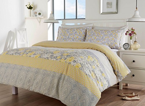 London. bedding CHELSEA ORIENTAL BIRDS FLORAL GREY YELLOW/SPICE- RED DUVET QUILT COVER BED SET (King, Grey-Yellow)