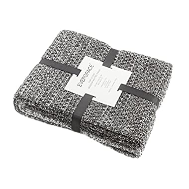 EverGrace Knitted Throw Blanket for Sofa or Couch, Soft & Cozy Knit Throw Textured Ombré Effect for Bedroom Décor 100% Acrylic W50 x L60(Gray)