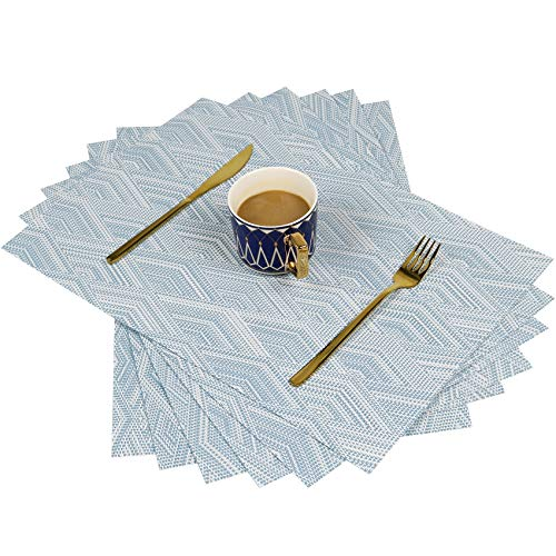 SAYOPIN Place Mats Set of 6 Heat Insulation Stain Resistant Placemats for Dining Table Durable Cross Weave Woven Vinyl Kitchen Table Mats Placemat(6,Blue)