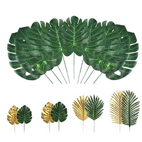 Yililay Selva Hojas de simulación Artificiales Hojas de Palma Falso Tropical Plant Stems de Hawai Hojas Verdes 72PCS