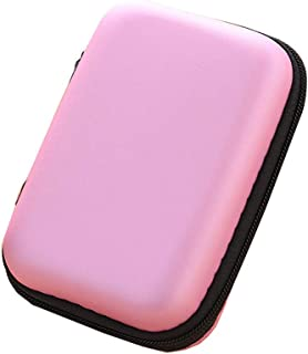 Portable Square Earphone Storage Case Mini Pouch Storage for Smartphone Earphone Bluetooth Charger L Size 1pc Pink