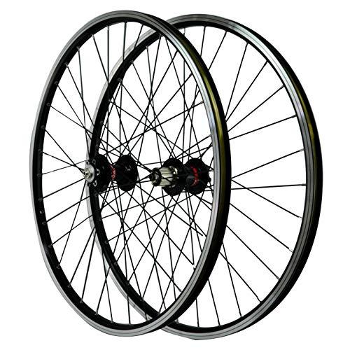 Rueda de Freno Disco Bicicleta Montaña, Buje Delantero 2 Trasero 4 Cojinetes Freno de Disco En V Llanta de Aleación Aluminio Alta Resistencia Doble Capa Deportes (Color : Black)