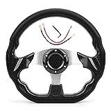 Volante de carreras, volante de coche universal de 320 mm, estilo de fibra de carbono, deriva de carreras con botón de bocina
