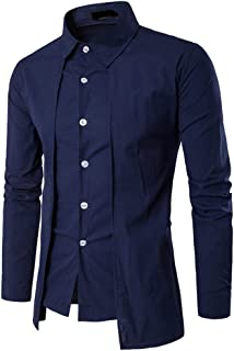 Nansiche Men's Dress Shirts Long-Sleeved Casual Fake Two Pieces Solid Shirts
