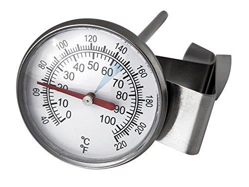 scarlet espresso | Milchthermometer »Professionale« Edelstahl-Thermometer zur Temperaturkontrolle beim Aufschäumen von Milch für perfekten Milchschaum mit Clip zur Befestigung am Milchkannen-Rand