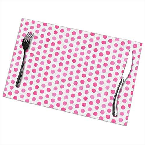 Hipiyoled Tischset 6er-Set, Aquarell Punkte, Pink, Tischsets für Esstisch, Wärmeisolierung, fleckabweisend, 12 x 12 Zoll