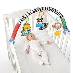 Singring Arco de juguete para el cochecito, cama o silla de paseo con sonajero y dispositivo BB (cebra)