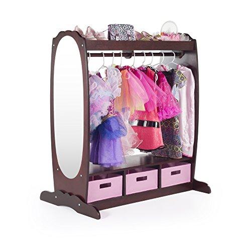 Guidecraft Dress Up Storage – Espresso: Kids' Costume Dresser, Armoire with Rack, Toy Bins and Full Mirror - Playroom Organizer, Children Room Furniture