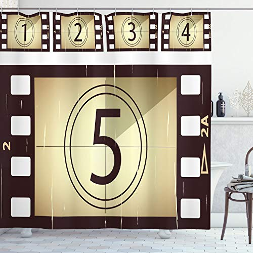 Ambesonne Movie Theater Shower Curtain, Scratched Film Strips Vintage Movie Frame Pattern Grunge Illustration, Cloth Fabric Bathroom Decor Set with Hooks, 70 Inches, Beige Brown White