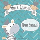 Mein 1. Geburtstag: Gästebuch zum Eintragen - schöne Erinnerung an den 1. Geburtstag für Junge & Mädchen im Format: ca. 21 x 21 cm, mit 100 Seiten für ... der Geburtstagsgäste, Cover: Zebra Safari