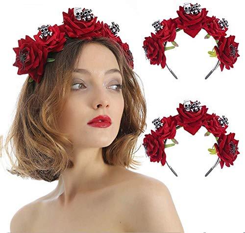 Corona de flores de bruja gótica medieval, guirnalda floral vintage, diadema para...