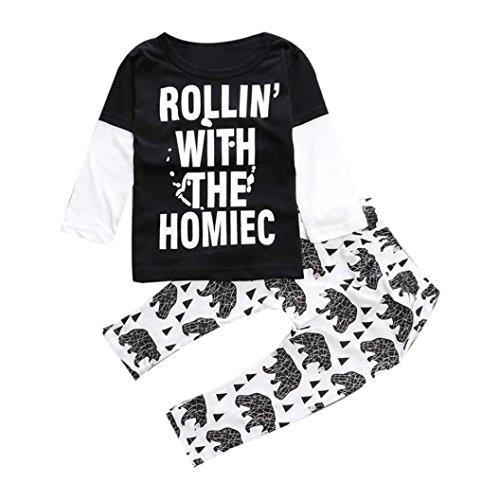kingko® 1Réglez Summer Infant Toddler garçons Faux deux pièces à manches longues imprimé T-shirt + Pantalons Vêtements (24M)