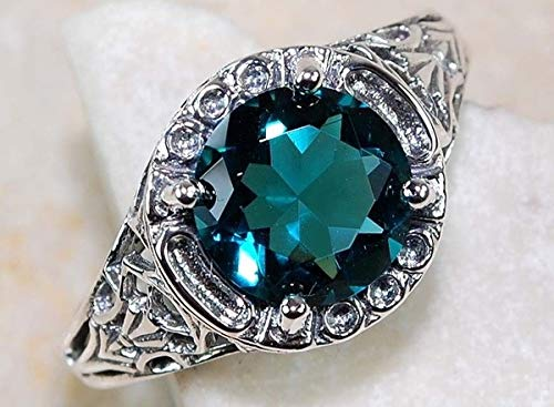 Tripmark Women's Charming Vintage Cut Green Amethyst CZ Wedding Ring Band Ring Wedding Bridal Jewelry Green Topaz Gemstone Ring (8)