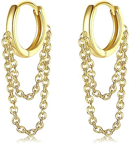 Adramata Aros Pendientes Mujer Pequeños Con Cadena De Borla Chapada En Oro De 14 K Para Mujer, Pendientes De Cadena De Gota De Cartílago De Moda