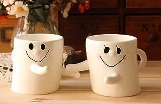 Buyneed 300ml Happy Hug Couples Coffee Milk Ceramic Mug Cup Christmas Birthday Best Gift,Set of 2